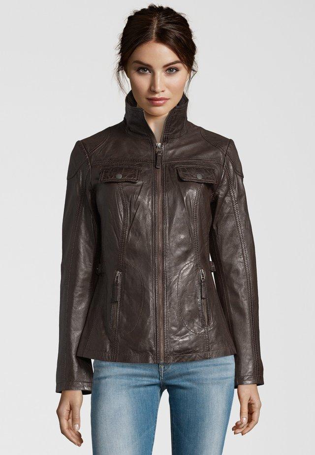 MIT HOHEM KRAGEN - Leather jacket - brown