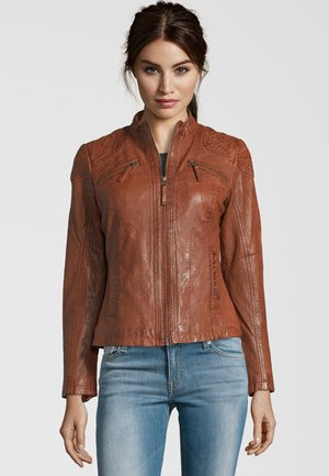 BOZEN IN KLASSISCHEM DESIGN - Leather jacket - tobacco