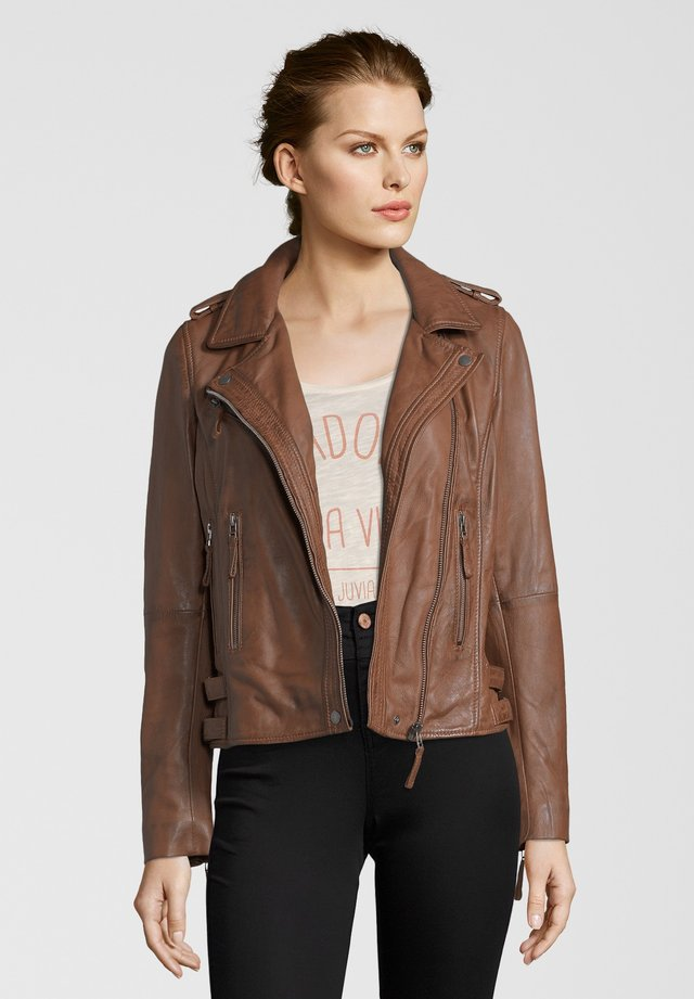 MICHI - Leather jacket - dark cognac
