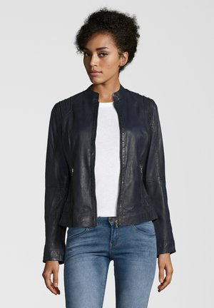 GENIA - Leather jacket - navy