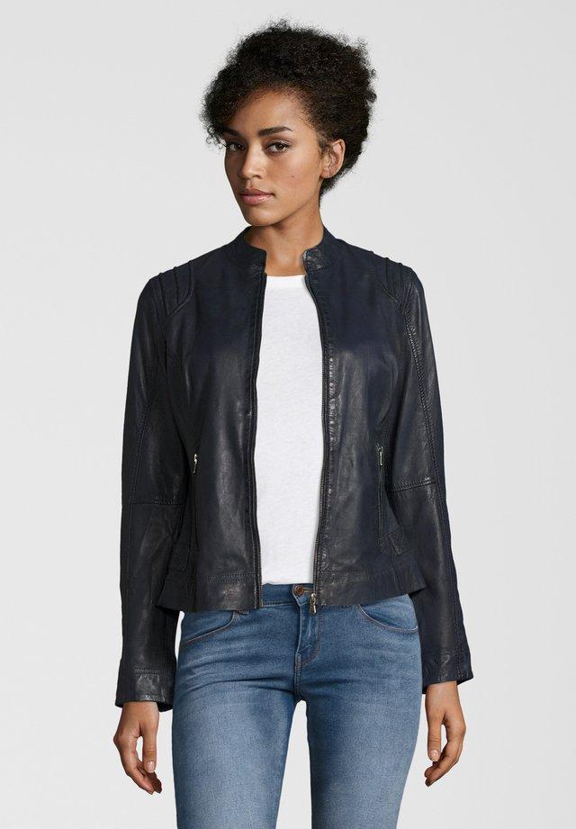 GENIA - Leather jacket - navy