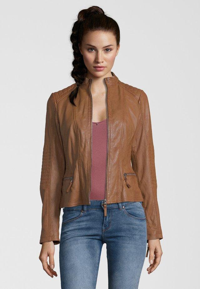 FRASY - Leather jacket - cognac
