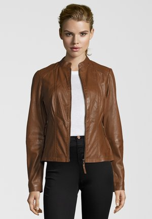 PENELOPE - Leather jacket - mocca