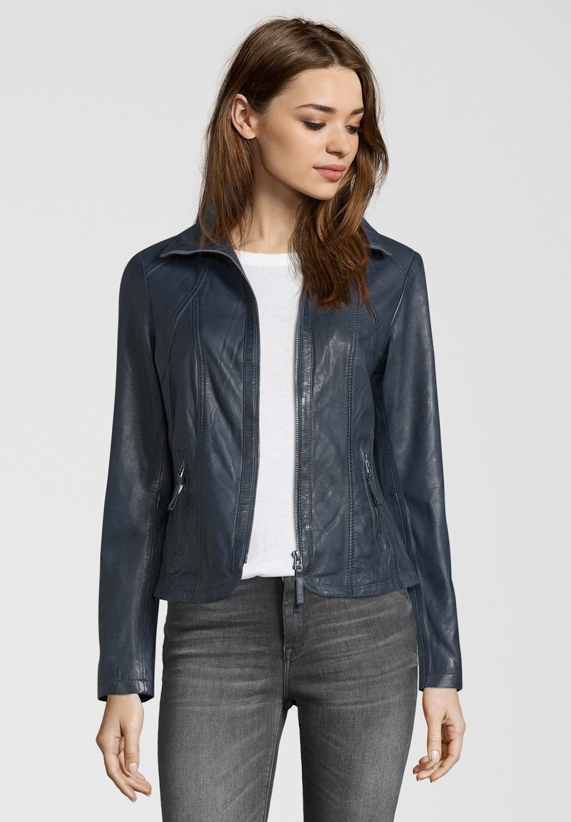 7eleven - GRACE - Leather jacket - navy
