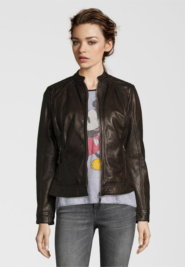 ROSALIE - Leather jacket - dunkelbraun