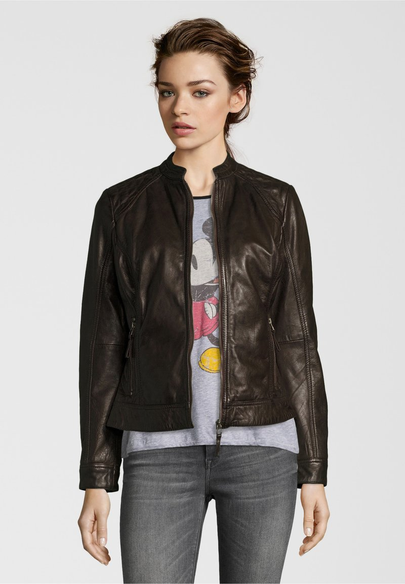 7eleven - ROSALIE - Leather jacket - dunkelbraun