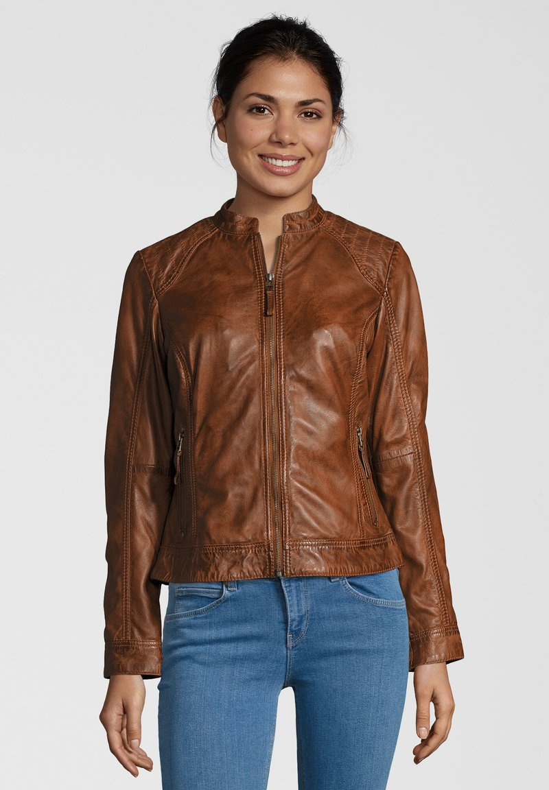 7eleven - ROSALIE - Leather jacket - cognac