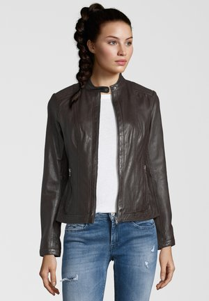 URSULA - Leather jacket - chocolate