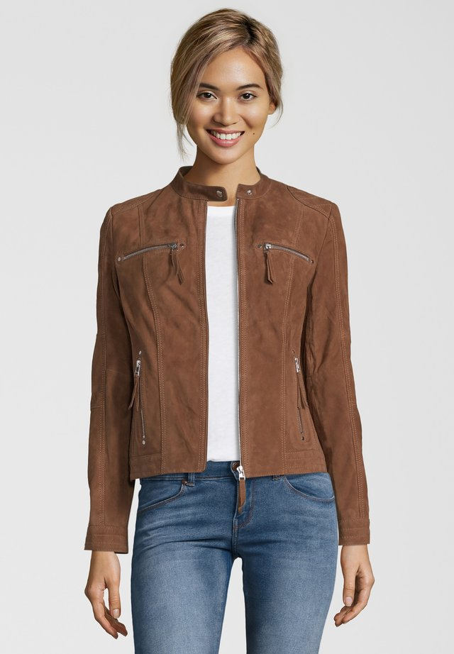 STEFF - Leather jacket - brown