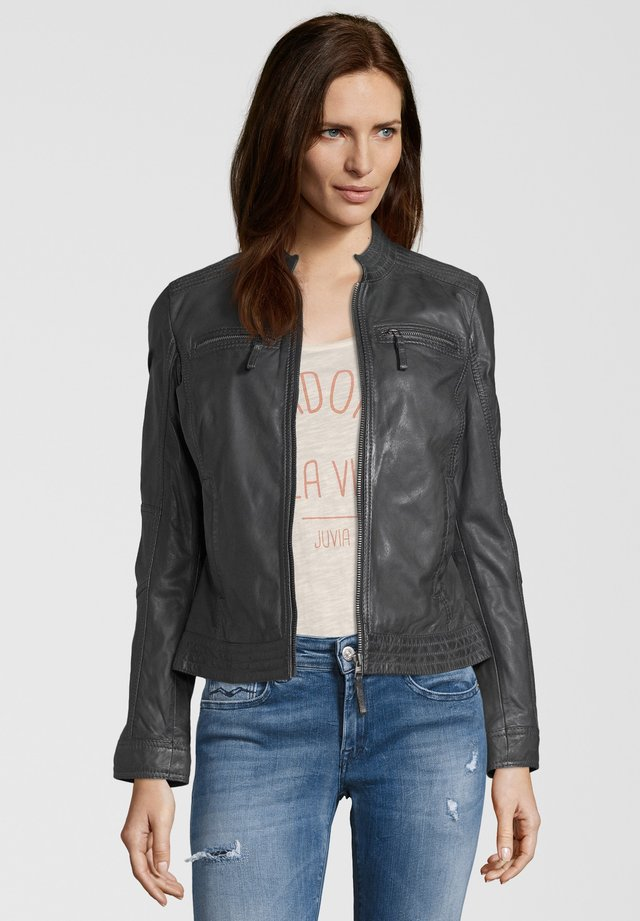 SALVINA - Leather jacket - anthra