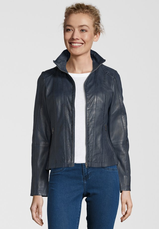 LEA - Leather jacket - navy