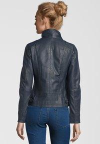 7eleven - LEA - Leather jacket - navy - 1