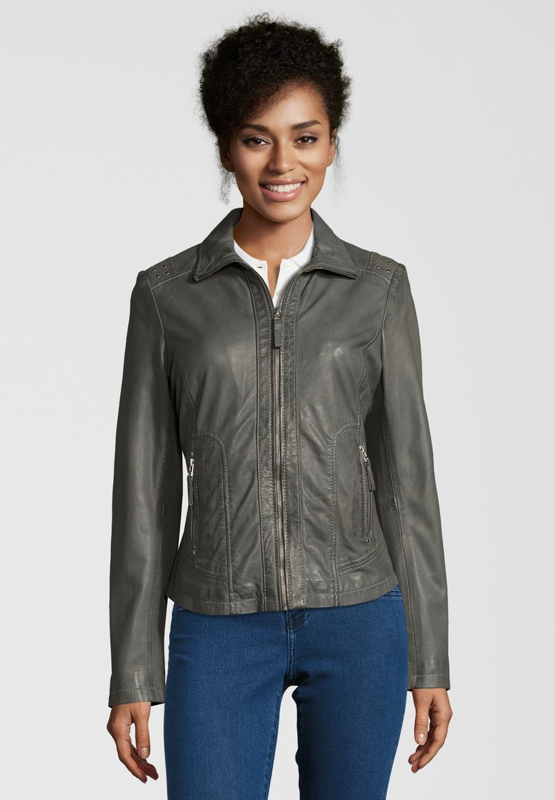 7eleven - AGNES - Leather jacket - grey