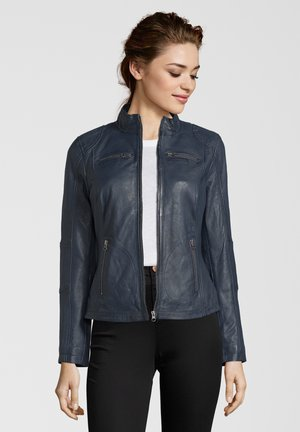 SUSAN - Leather jacket - navy
