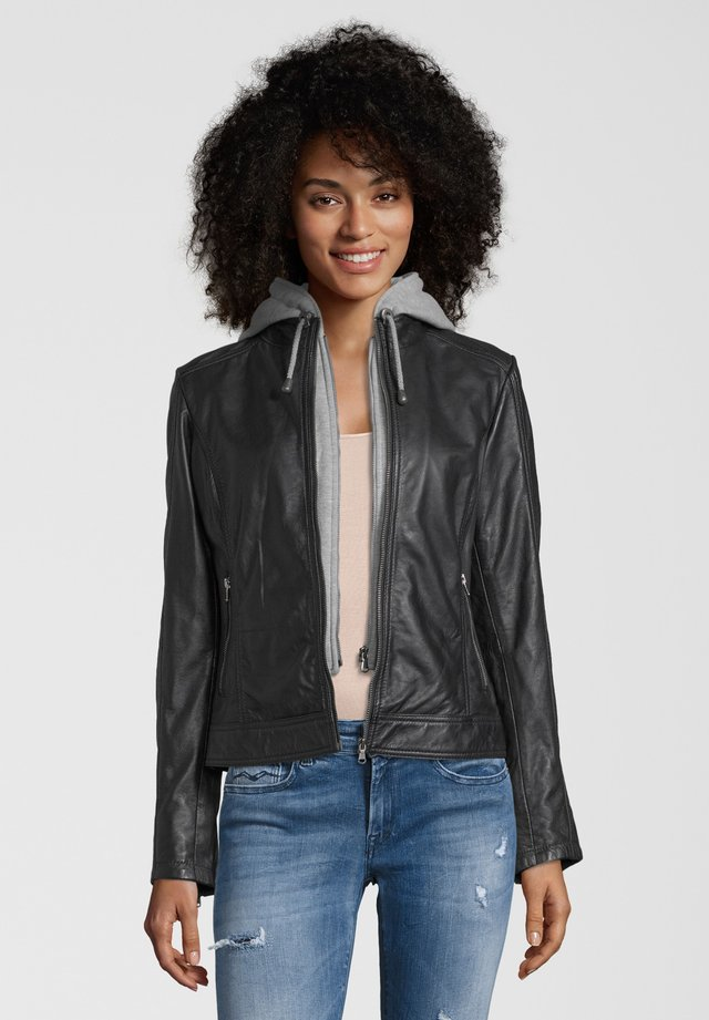 MARLIES - Leather jacket - black
