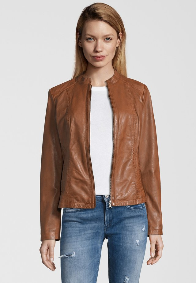 LIONA - Leather jacket - cognac