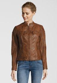 7eleven - BASTIA - Leather jacket - cognac - 0