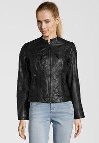 7eleven - BASTIA - Leather jacket - schwarz - 0