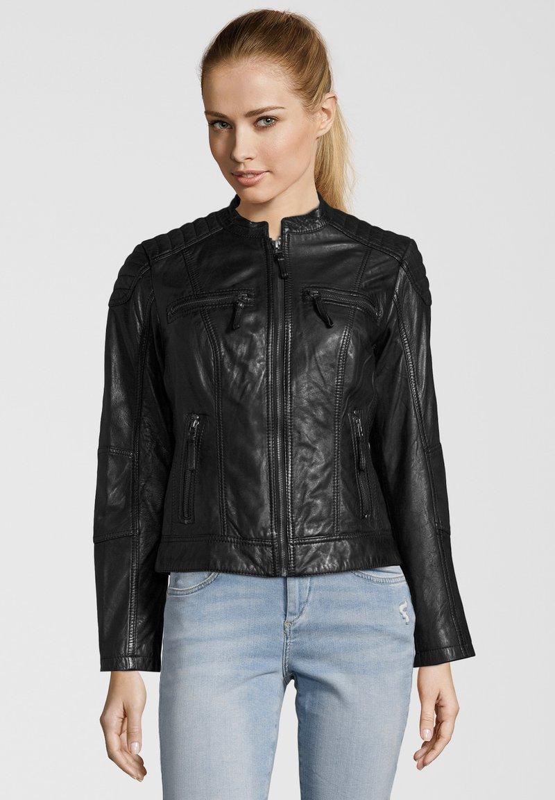 7eleven - BASTIA - Leather jacket - schwarz