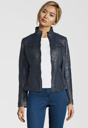RENATE - Leather jacket - navy