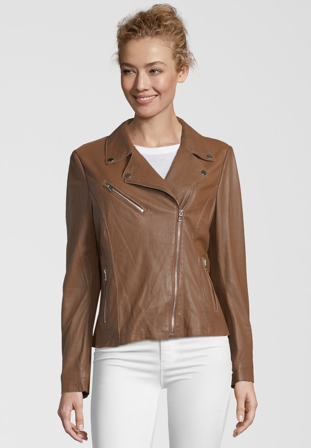 ARONA - Leather jacket - cognac