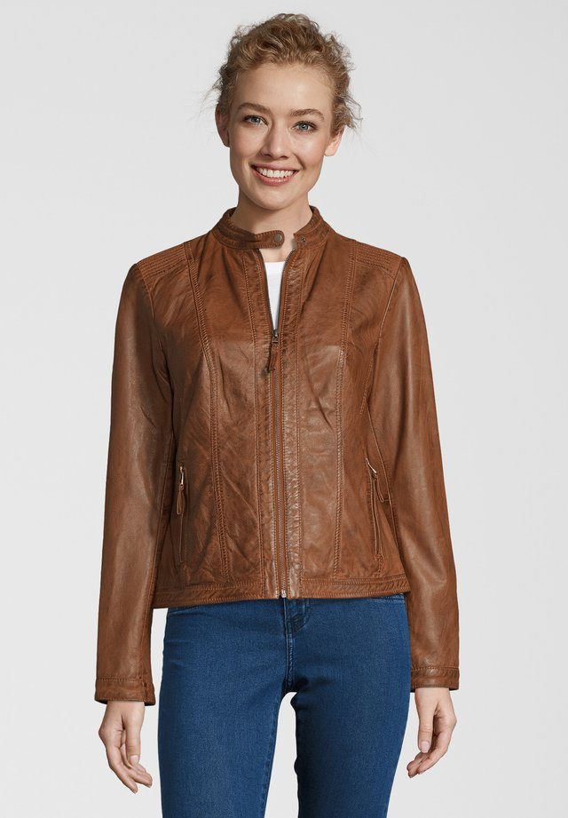 URSEL - Leather jacket - cognac