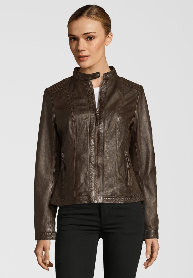 7eleven - URSEL - Leather jacket - dark brown