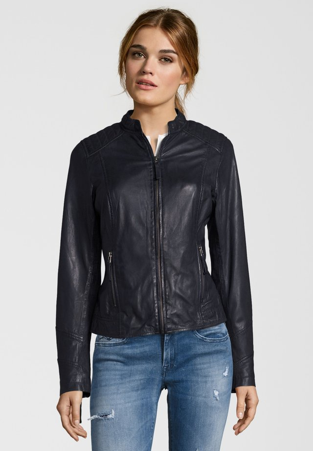 ANJA - Leather jacket - navy