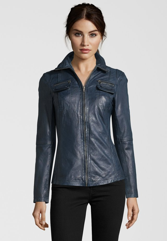 MESSINA  - Leather jacket - navy