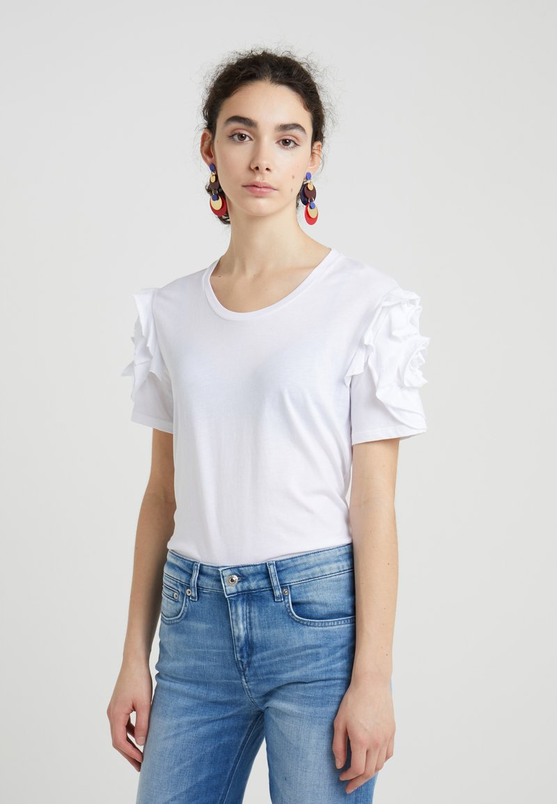 7 for all mankind - RUFFLE TEE - Print T-shirt - white
