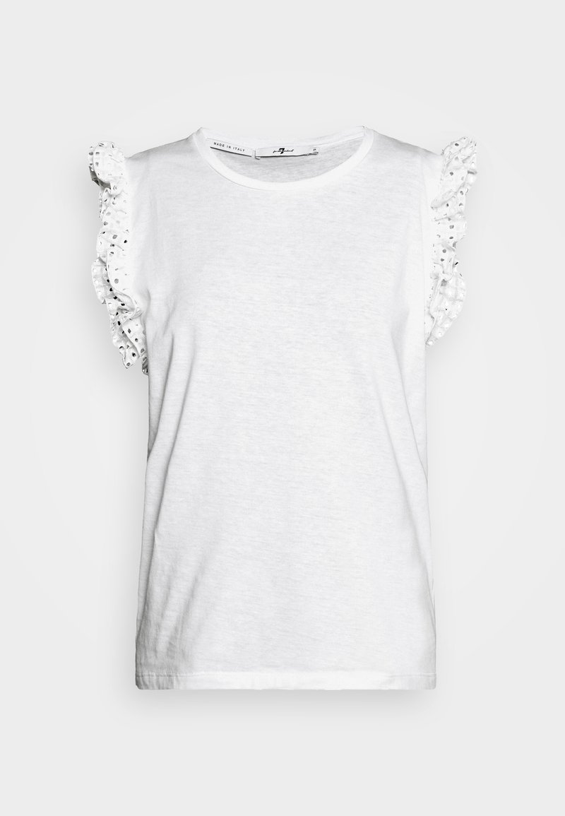 7 for all mankind - RUFFLE TANK TEE - T-shirt print - white