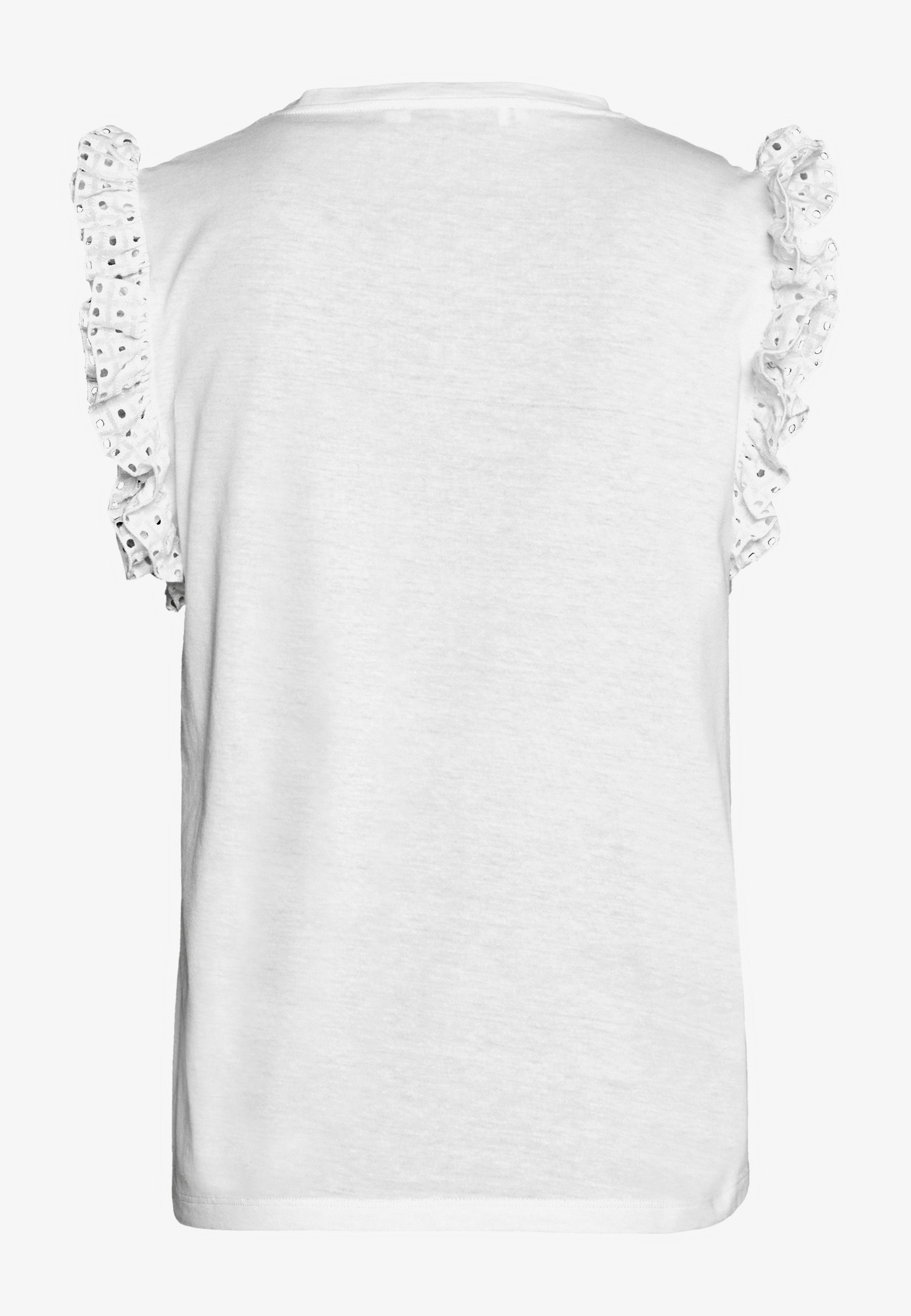 7 For All Mankind Ruffle Tank Tee - T-shirt Con Stampa White hlA3MlG