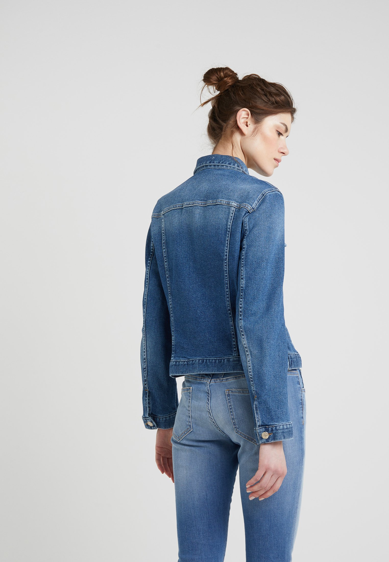 7 for all mankind MODERN TRUCKER LUXE - Jeansjakke - captiola mid indigo