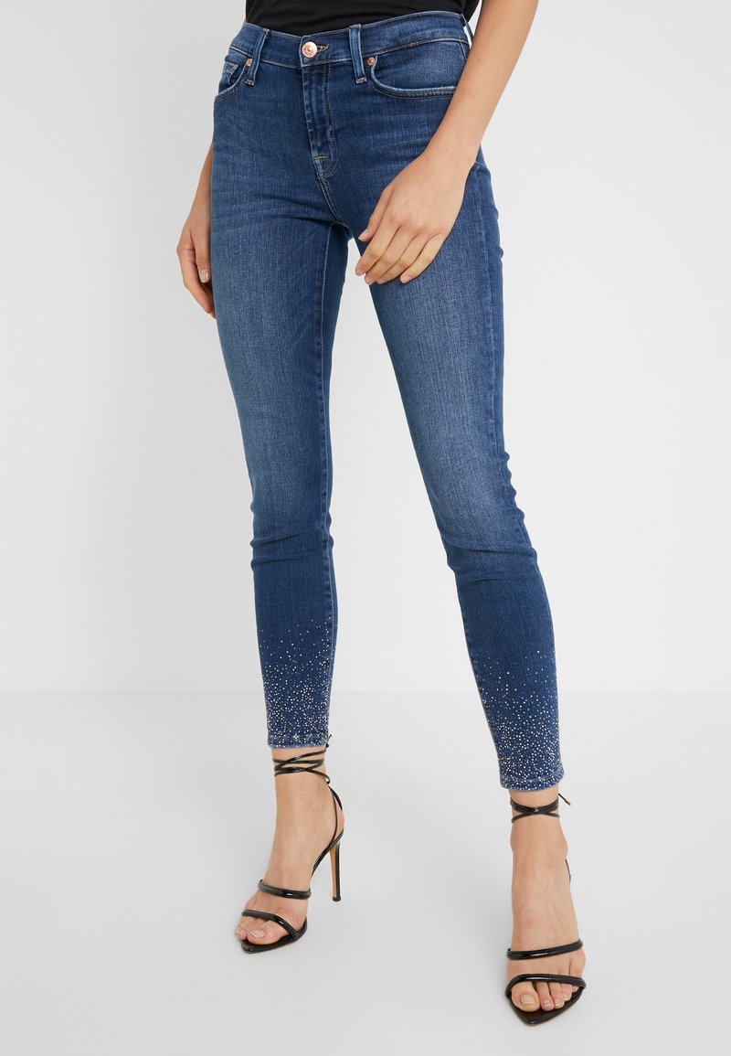 7 for all mankind - ILLUSION OLD SONG WITH CRYSTAL HEM - Skinny-Farkut - blue denim