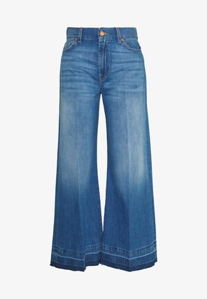 LOTTA CROPPED UNROLLED - Bootcut jeans - dark blue