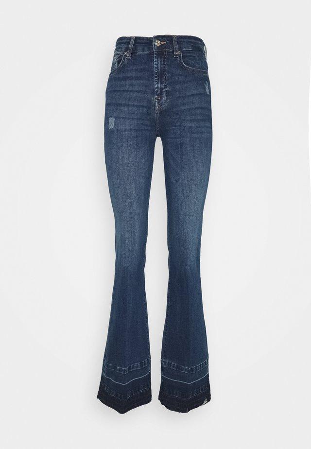 LISHA UNROLLED - Flared Jeans - dark blue