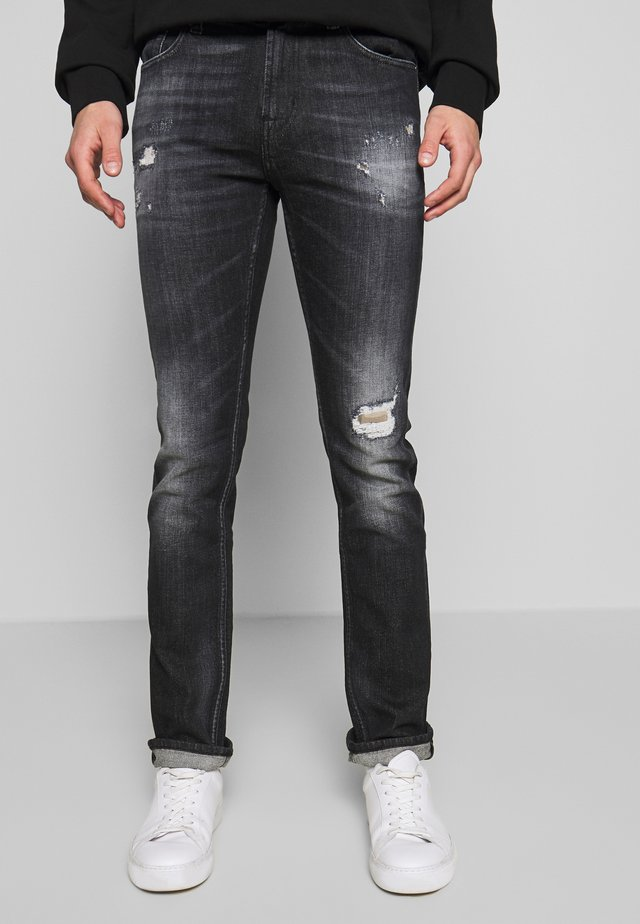 RONNIE DESTROYED - Jeans Slim Fit - washed black
