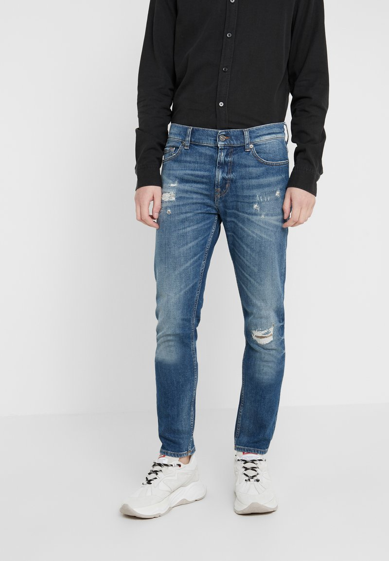 7 for all mankind - RONNIE DESTROYED - Vaqueros slim fit - mid blue