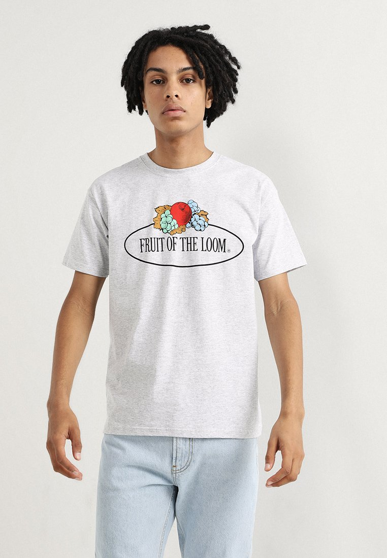 Fruit of the Loom - CLASSIC LARGE CLUSTER PRINT FRONT - T-shirt imprimé - grey melange