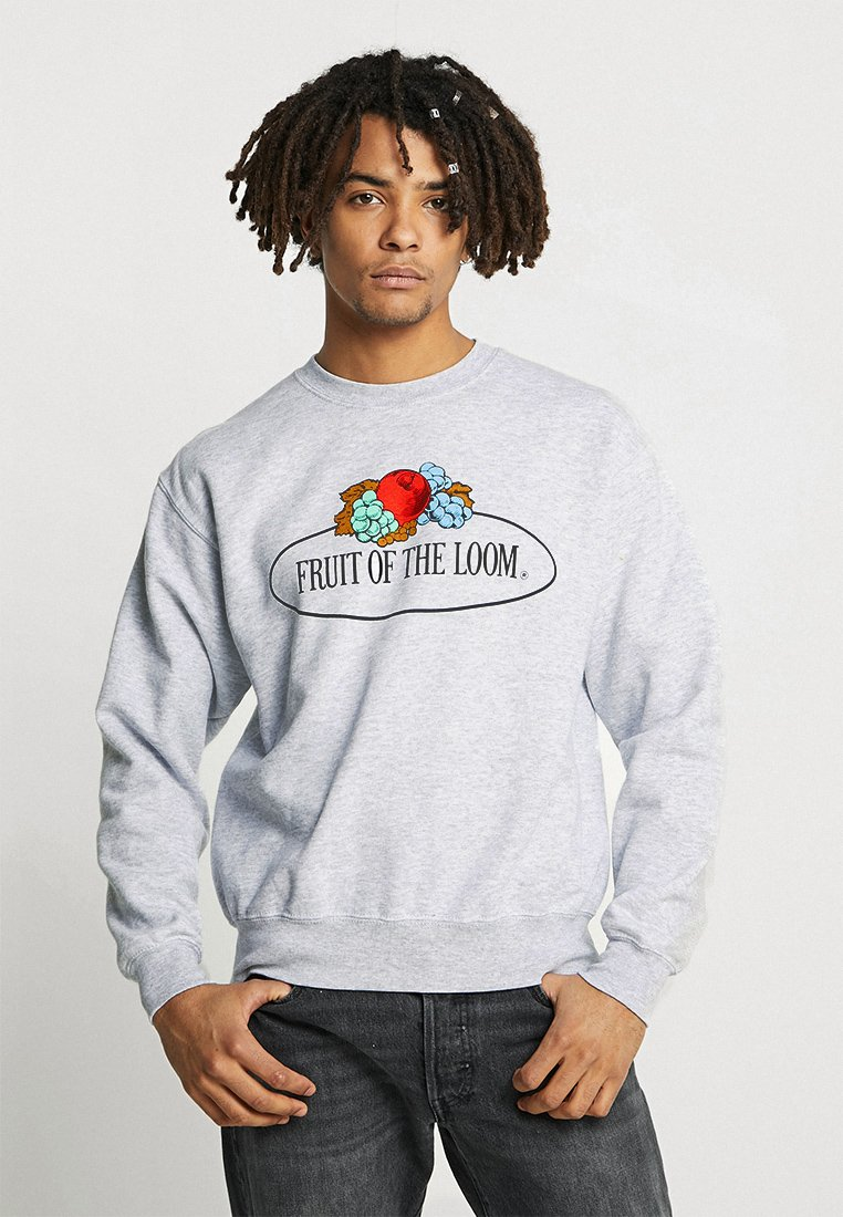 Fruit of the Loom - MENS CLASSIC LARGE CLUSTER PRINT FRONT - Sudadera - heather grey