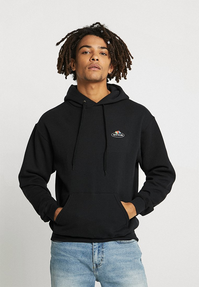 Fruit of the Loom - CLASSIC HOODED SMALL CLUSTER PRINT FRONT - Kapuzenpullover - black