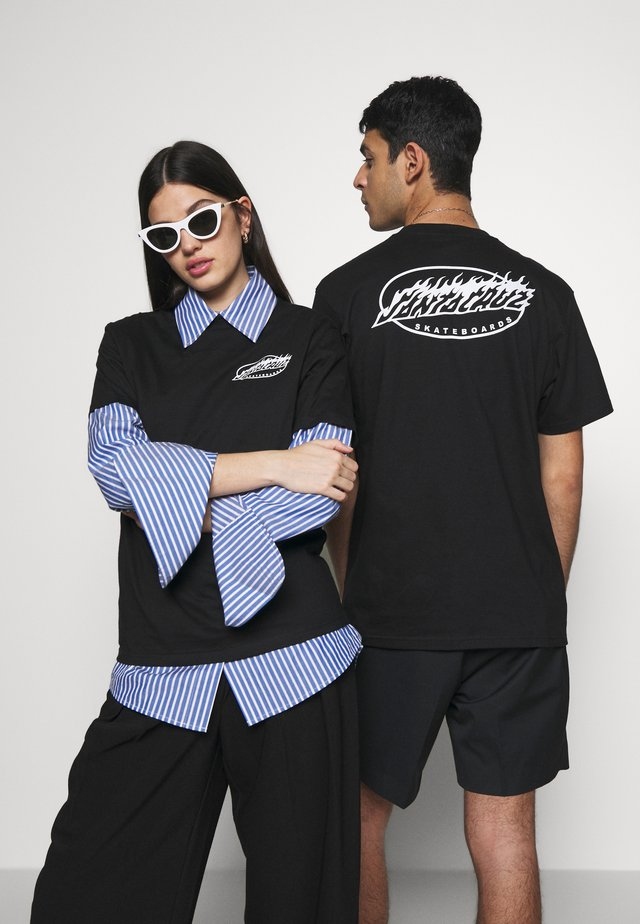 UNISEX OVAL FLAME - T-shirt z nadrukiem - black