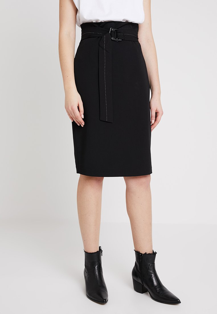 Sisley - PENCIL SKIRT WITH BELT - Pencil skirt - black