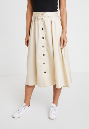 BUTTON MIDI SKIRT - Jupe longue - off-white