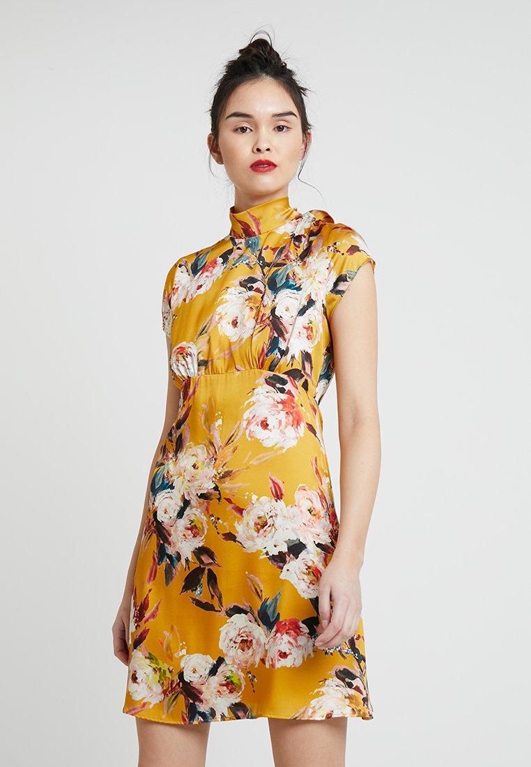 Sisley - FLORAL HIGH NECK MINI DRESS - Hverdagskjoler - yellow