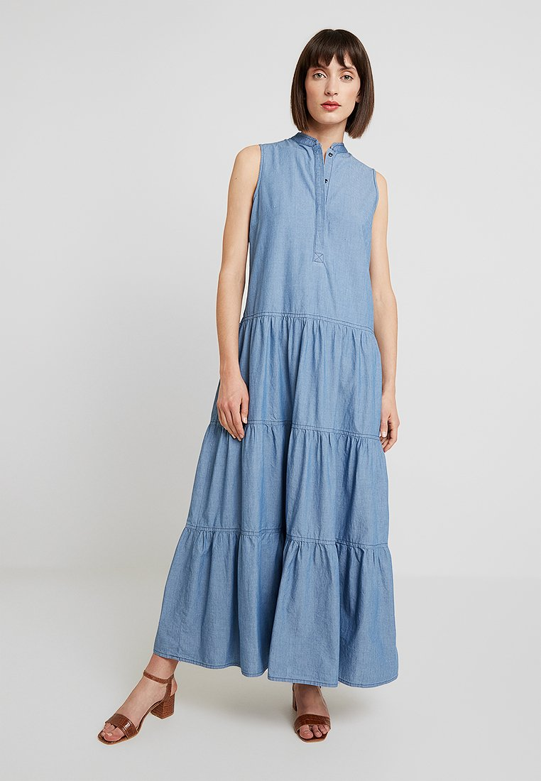 Sisley - TIERED RUFFLE DRESS - Maxi dress - light blue