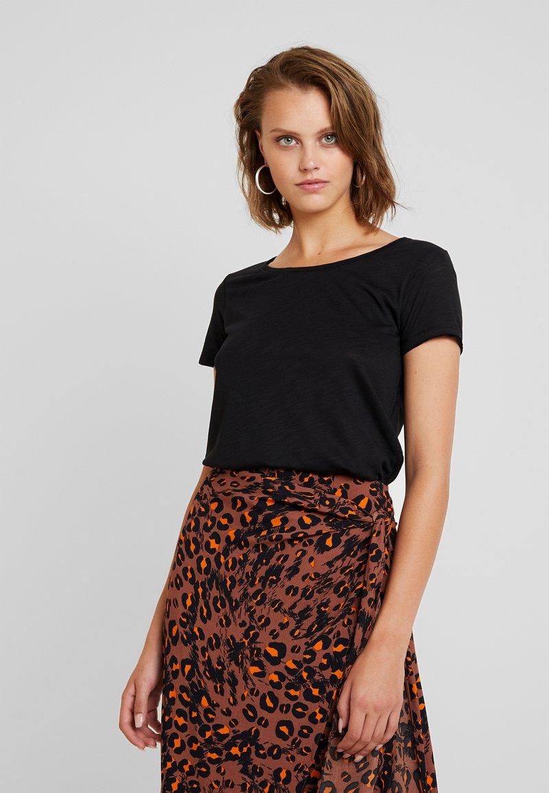 Sisley - ROUND NECK - Basic T-shirt - black
