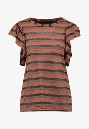 RUFFLE SLEEVE STRIPE TEE - T-shirts med print - orange