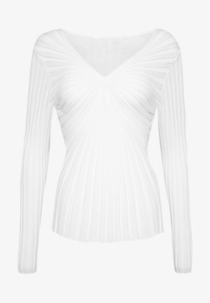 V NECK - Pullover - white