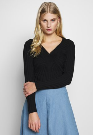 V NECK - Sweter - black